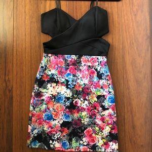 Dresses & Skirts - Boutique black and floral cut out dress